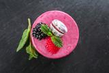 Tasty berry mousse cake on dark background - 209627541