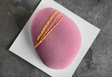 Tasty mousse cake on grunge background - 209627564