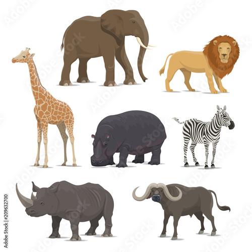 Naklejka African safari animal icon of wild savanna mammal