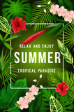 Summer tropical palm leaf and exotic flower banner - 209633132