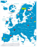 Europe Map and glossy icons on map - 209633971
