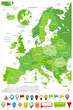 Europe Map Spot Green Colors and glossy icons