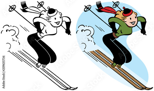 A woman speeds downhill on her skis.