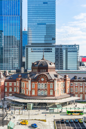 Aluminium Tokio Asia Business concept for real estate and corporate construction - panoramic view of modern city skyline and tokyo station under clear sky in tokyo, japan