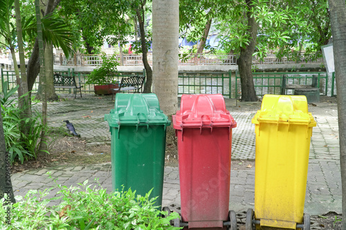 Colorful Three Recycle Bins In The Park, Environmental protection