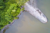 old boat ramp on Missouri River - aerial view - 209638750