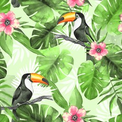 Seamless tropical pattern with Toucans 3. Watercolor illustration