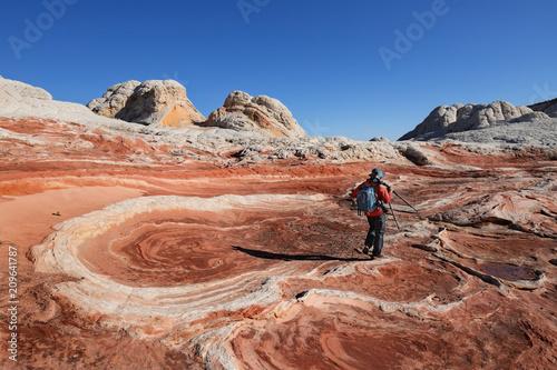 Aluminium Arizona Photographer at White Pocket, Vermilion Cliffs National Monument, AZ