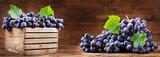 fresh grape  in a wooden box