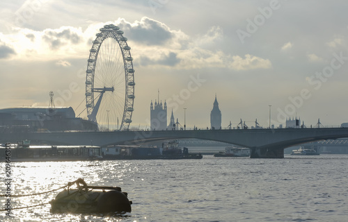 Fotobehang London Silhouette skyline of the London landmarks and a .buoy