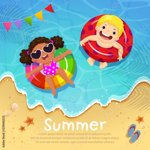 Kids floating on inflatable at the beach in summer time. Template for advertising brochure - 209646325