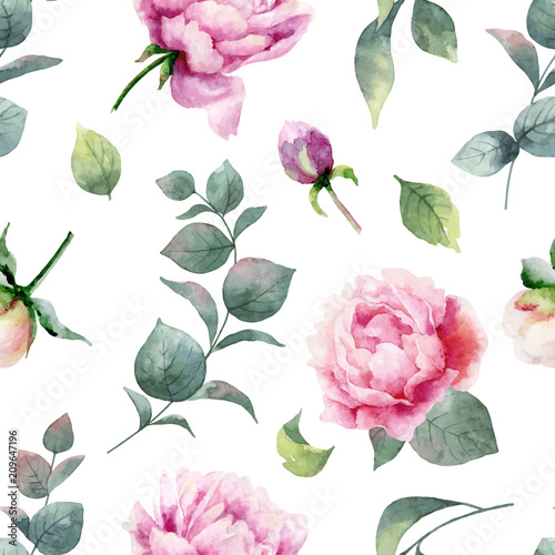 Watercolor vector hand painting seamless pattern of peony flowers and green leaves.