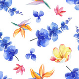 Watercolor seamless pattern of bright exotic flowers isolated on white background. - 209647315