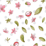 Seamless pattern with azalea in hand drawn style