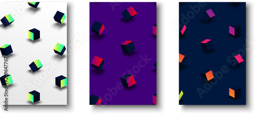 Backgrounds with color geometric 3d cubes pattern. - 209647767