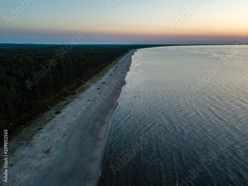 Aluminium Bleke violet drone image. aerial view of red sunset in the sea. shore line