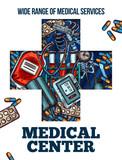 Medicine cross symbol with medical sketch - 209652914