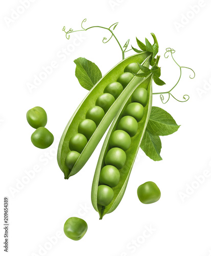Green peas in pods with sprouts isolated on white background