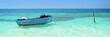 Leinwanddruck Bild - Blue boat, Cayo Levisa, Cuba