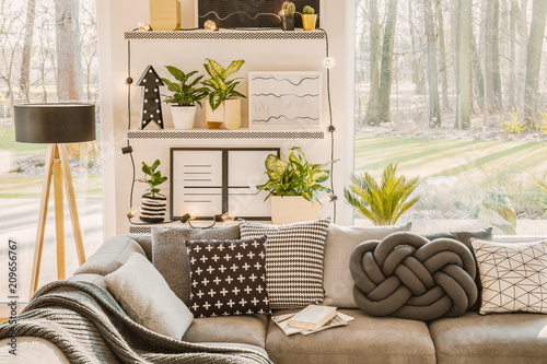 Foto Murales Living room interior with plants