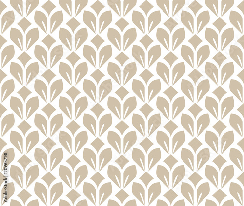 Flower geometric pattern. Seamless vector background. White and beige ornament. Ornament for fabric, wallpaper, packaging. Decorative print - 209657131