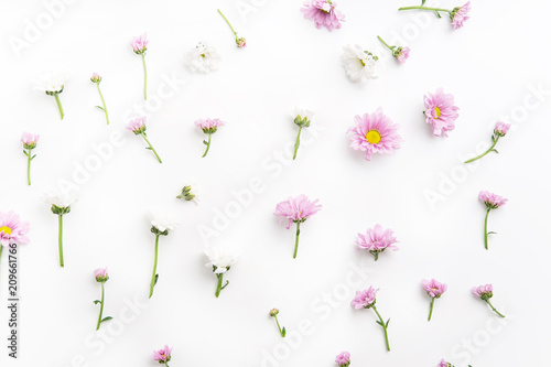 Floral pattern with tender pink and white flowers arranged as a flatlay on white background - 209661766