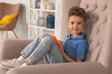 Boy in armchair. Curly handsome dark-eyed boy feeling relaxed while sitting in armchair at home holding laptop in his hands - 209662522