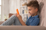Adorable boy. Sweet adorable curly handsome boy feeling rested while watching funny cartoon on laptop sitting in armchair - 209662562