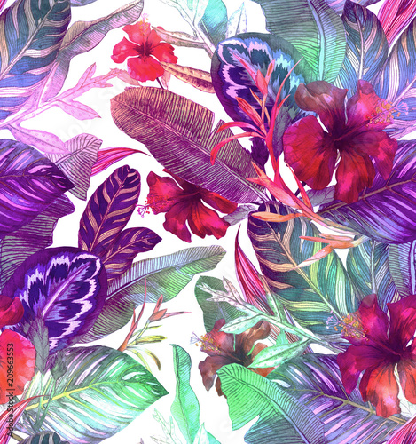 Seamless holographic pattern with hibiscus, palm leaves, branch of strelitzia, calathea.Tropic background - 209663553