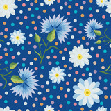small and big white daisies, cornflowers,