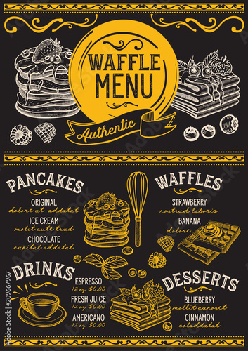 Waffles and crepes restaurant menu. Vector pancake food flyer for bar and cafe. Design template with vintage hand-drawn illustrations. - 209667967