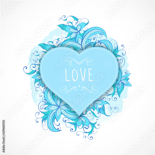 Vector illustration with frames in heart shape, floral and watercolor  elements and inscription. - 209669310