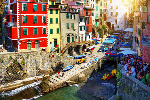 Aluminium Zwavel geel Beautiful view of Riomaggiore in Cinque Terre, Italy. Landmark and architecture in Cinque Terre national park