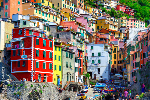 Fotobehang Liguria Beautiful view of Riomaggiore in Cinque Terre, Italy. Landmark and architecture in Cinque Terre national park