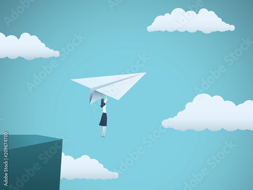 Woman leader in business vector concept. Businesswoman flying on paper plane off a cliff as symbol of woman power, strength, motivation, ambition and feminism.