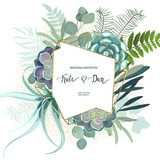 Greenery geometric frame with leaves, succulent , eucalyptus, fern and cactus. Perfect for wedding, frame, pattern,greeting card, invitations, lettering. Watercolor style. Vector illustration - 209674902
