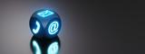 Leuchtender Symbolwürfel - Kontaktaufnahme - 209685952