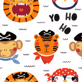 Hand drawn seamless vector pattern with different cute pirate animals, on a white background. Scandinavian style flat design. Concept for children, textile print, wallpaper, wrapping paper.