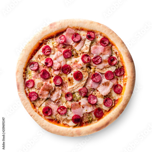 Ham and sausage pizza on white background. Copy space. Recipe and menu. Top view. - 209695347