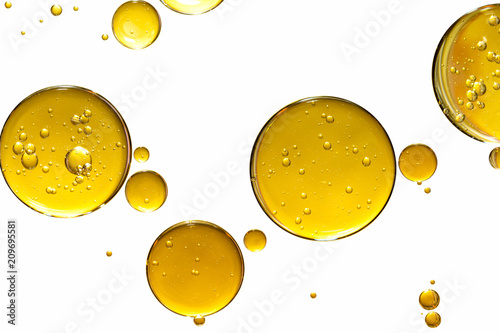 Foto Murales golden yellow bubble oil, abstract background