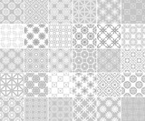 Geometric and floral collection of seamless patterns. Gray and white backgrounds - 209696126
