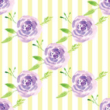 Hand-painted watercolor floral rose Pattern - 209699131