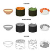 Bowl of soup, caviar, shrimp with rice. Sushi set collection icons in cartoon,outline,monochrome style vector symbol stock illustration web.