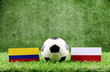 ball with Colombia VS Poland  flag match on Green grass football 2018