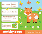 Activity page for kids with cow. Educational children game farm animals theme