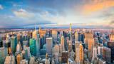 Aerial view of Manhattan skyline at sunset, New York City - 209705912