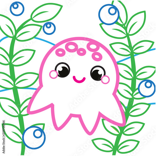Fototapeta Simple coloring page for toddlers with cute octopus. printable drawing activity for kids and children. Animals theme