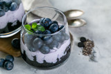 Detox activated charcoal chia pudding breakfast with blueberries