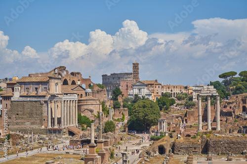 Fridge magnet Roman forum. Historical Rome. Old buildings and columns.