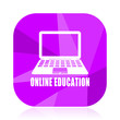 Online education violet square vector web icon. Internet design and webdesign button in eps 10. Mobile application sign on white background.